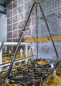 The JWST pathfinder after mirror installation and secondary mirror support structure deployment at Goddard Space Flight Center.  (NASA)