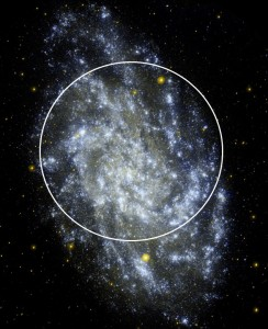 GALEX UV image of M33 with the UVIT field of view superposed