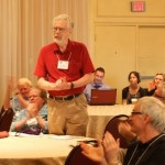 Bill Harris being thanked by CASCA members (Photo by Aaron Springford)