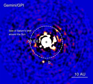 Figure 2 - GPI image of 51 Eri b. The bright central star has been mostly removed by a hardware and software mask to enable the detection of the exoplanet one million times fainter. Credits: J. Rameau (UdeM) and C. Marois (NRC Herzberg)