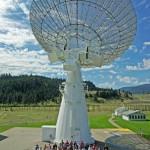 Workshop participants under the John A. Galt 26-m telescope.