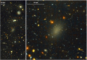 The dark galaxy Dragonfly 44. Deep g and I images were taken with the Gemini Multi-Object Spectrograph (GMOS) on Gemini-North as part of a Fast Turnaround program. The close-up on the right is from the same very deep image, revealing the large, elongated galaxy, and its halo of globular clusters. Image Credit: Pieter van Dokkum, Roberto Abraham, Gemini Observatory/AURA.