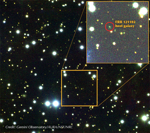 Figure 3 -Gemini composite image of the field around FRB 121102 (indicated). The dwarf host galaxy was imaged, and spectroscopy performed, using GMOS on the Gemini North telescope. Image Credit: Gemini Observatory/AURA/NSF/NRC