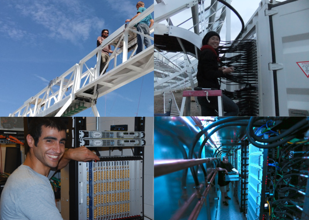 People at work. (Top left) Postdoc Emmanuel Fonseca and summer intern Tristan Simmons raising feeds onto the focal line; (top right) Postdoc Cherry Ng connecting some of the 2048 50m-long coaxial cables; (bottom left) Graduate student Juan Mena Parra installing FPGA motherboards; (bottom right) Graduate student Nolan Denman assembling GPUs in the X-engine.