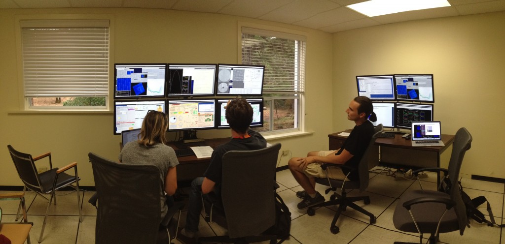 Figure 1: First observations from the Gemini Remote observing station at DAO, with UVic postdoc Celia Blain and students Ben Gerard and Zach Draper.