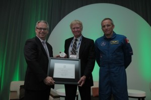 Figure 1 - Left to right: Sylvain Laporte (CSA President); John Hutchings (NRC); David St-Jacques (CSA astronaut).