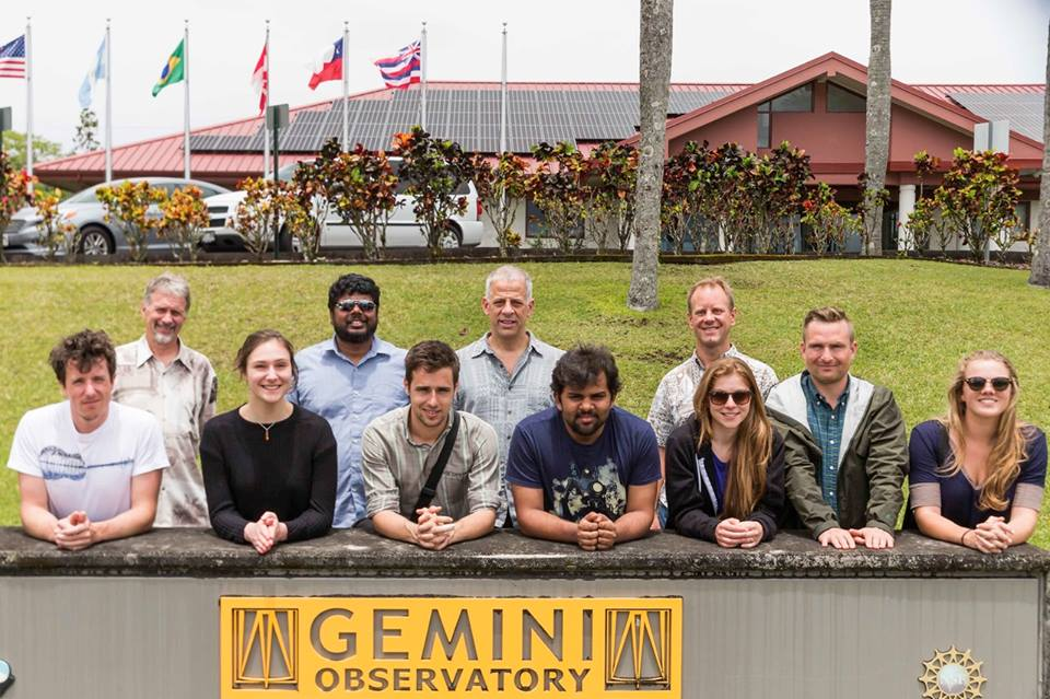 Figure 2- Happy canadian students on their Gemini visit. Front row, left to right: Jonathan Saint-Antoine, Mie Beers, Vincent Chambouleyron, Nikhil Arora, Deborah Lockhorst, Taylor Roberton, Katie Harris. Back row, left to right: Gemini Public Information and Outreach Manager Peter Michaud, Suresh Sivanandam (Dunlap Institute), Stephane Courteau (group leader, Queen's University), and Gemini Director Markus Kissler-Patig. Image Credit: Gemini Observatory/AURA